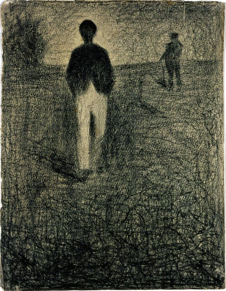 Two Men Walking in a Field / Georges-Pierre Seurat / Black conté crayon on cream, medium-weight, moderately textured laid paper / ca. 1882-1884