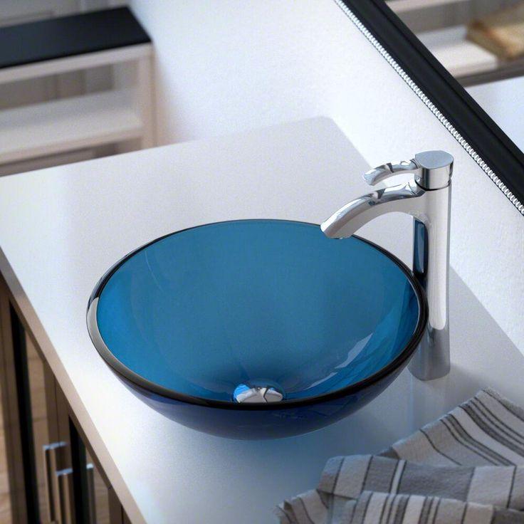 601 Aqua Glass Vessel Sink 726 Ensemble
