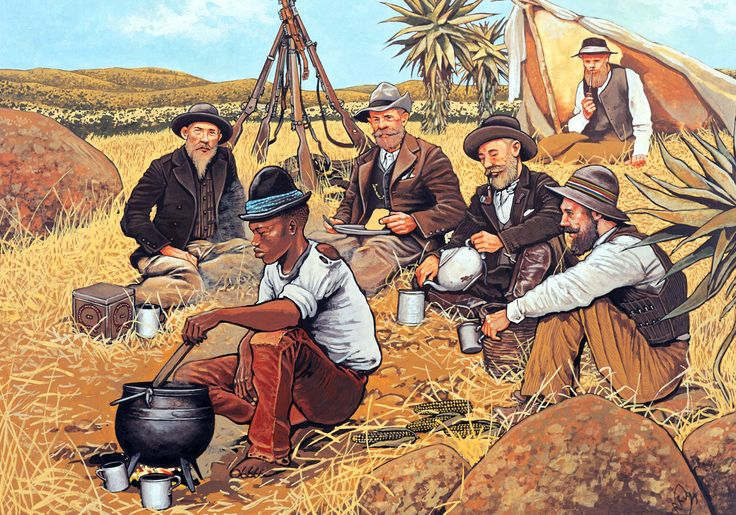 Boer Commando enjoying an evening meal in their laager. I've a few scenes like this early in the novel.
