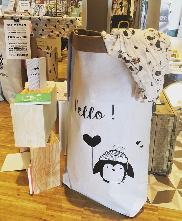 """Paperbag XXL """"Hello"""" pingouin -rangement : Meubles et rangements par suite-creative-babies"""