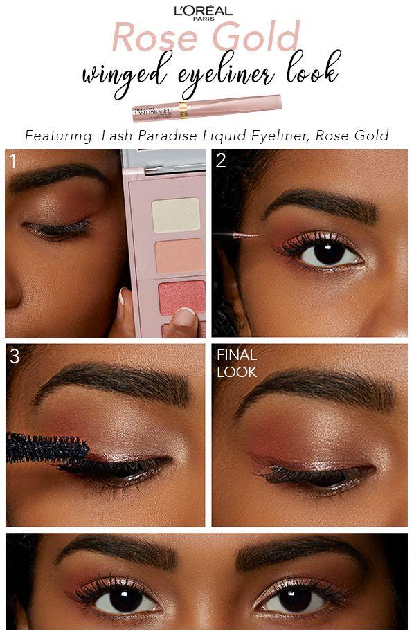 9586299f290 Rose Gold Winged Eyeliner Look | Featuring L'Orèal Paris Voluminous Lash  Paradise Liquid Eyeliner in Rose Gold and Paradise Enchanted Scented  Eyeshadow ...