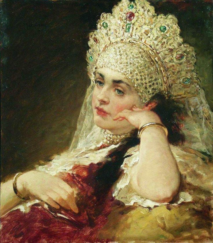 Konstantin Makovsky The Girl In Pearl Necklace 1880-1890