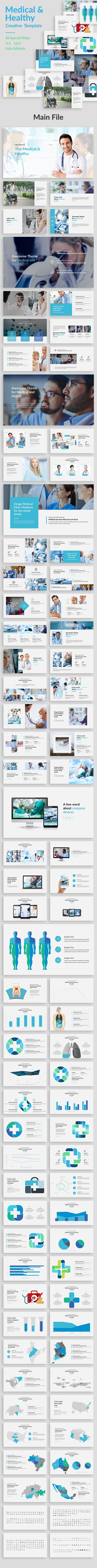 Medical and Healthy Powerpoint Template - 86 Unique Slides