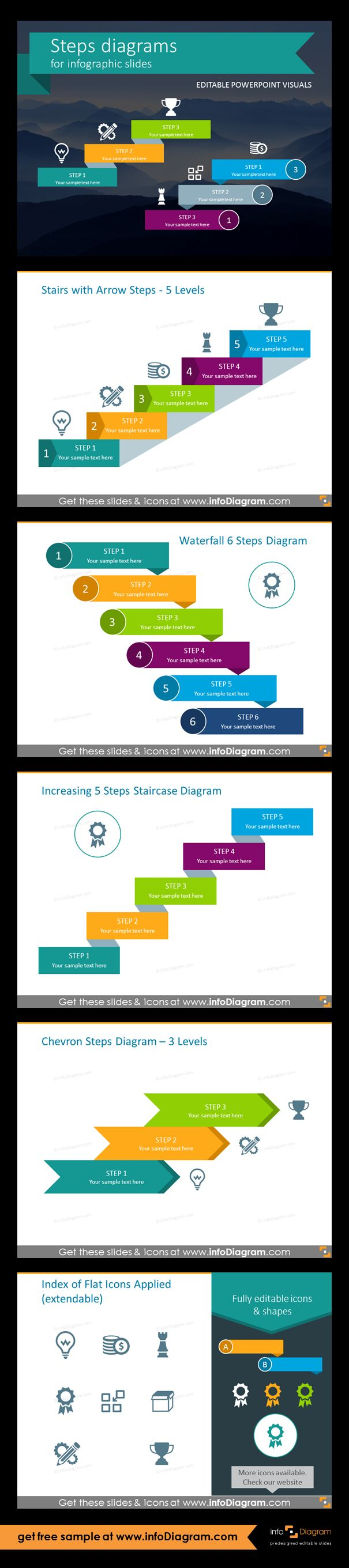 Template slides for Steps diagrams and Staircase infographics. Editable PowerPoint graphics for showing progress flow charts, project stages, planning phases and roadmaps by modern infographics. Fully editable style, size and colors. Stairs with arrow steps - 5 levels, waterfall 6-steps chart, increasing 5 steps staircase, chevron steps diagram - 3 levels, flat icons. Add 3D steps as an inspiration how to organise the information on the slide, in case of presenting procedures.