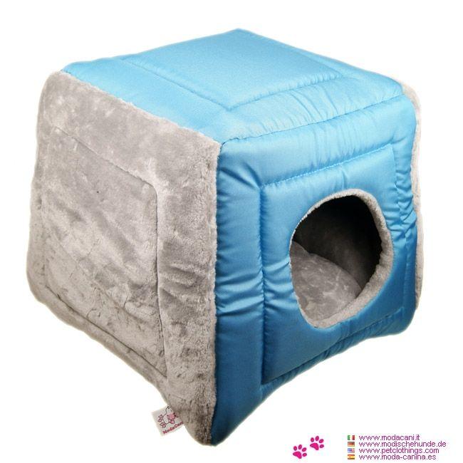 Cube Hundehütte für kleine Hunde in Grau und Blau - Neue Hundehütte in Grau und Blau für kleine Hunde in der Form Würfels: für alle Hunde (wie Chihuahua, Pinscher), die sich geschützt fühlen lieben