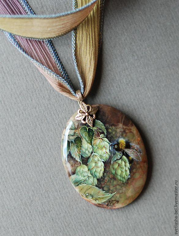 Купить Мохнатый Шмель На Душистый Хмель... - разноцветный, лаковая миниатюра, кулон, живопись маслом