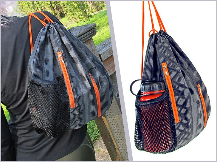 Sporty String Backpack with Vertical Zip Pockets   Sew4Home