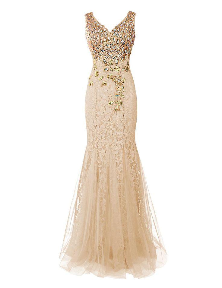 Dresstells® Long Lace Mermaid Prom Dress with Appliques Wedding Dress Evening Party Wear Grape Size 12