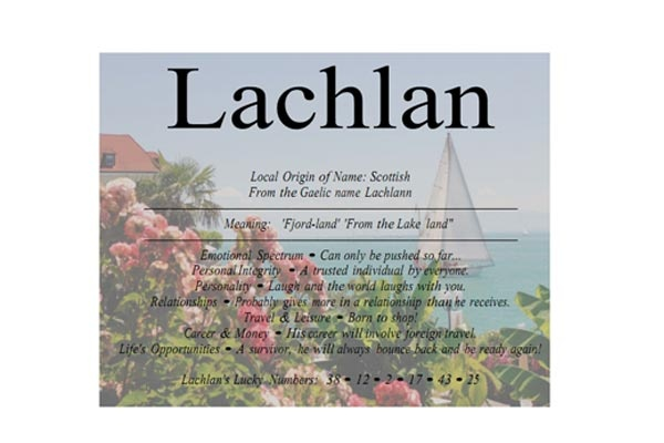 Lachlan (Celtic Gaelic, from the lake)   ///   Top Australian Baby Names http://www.essentialbaby.com.au/pregnancy/baby-names/australias-top-100-baby-names-of-2012-20130416-2hx91.html