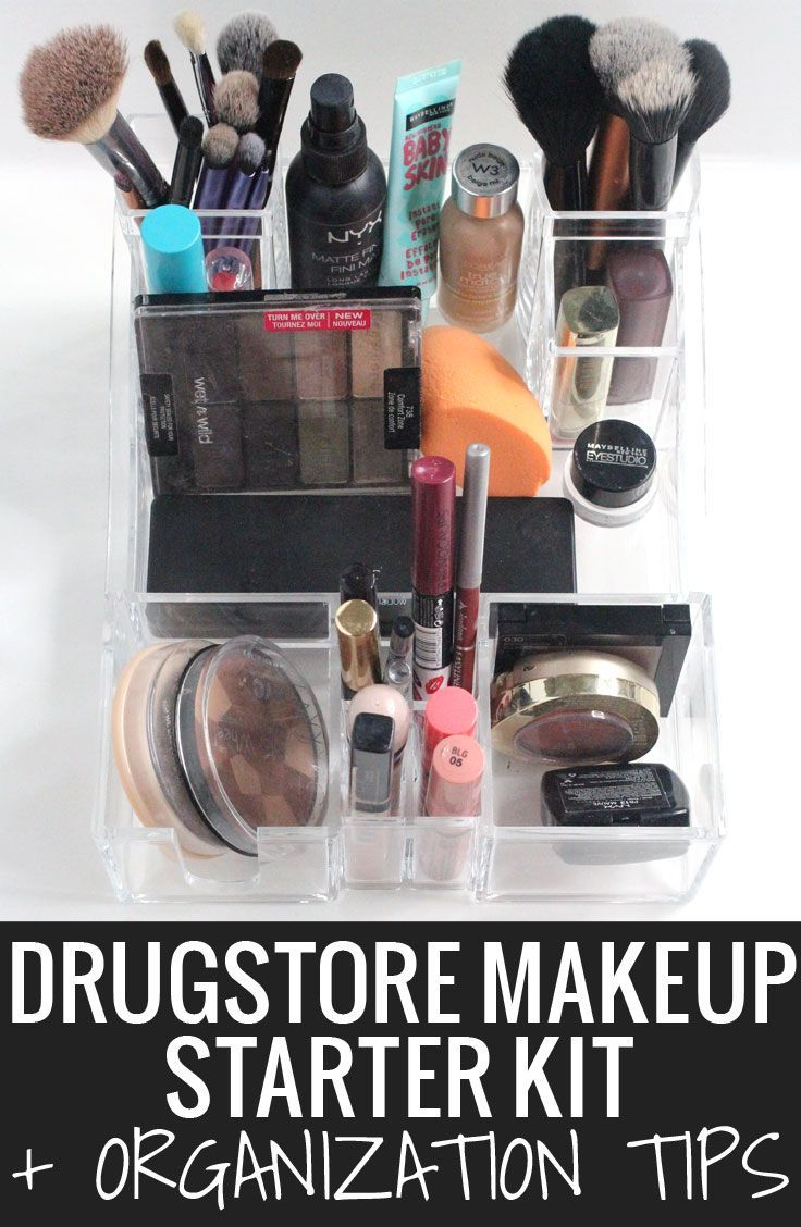 Drugstore Makeup Starter Kit + Organization Tips - you don't have to leave the drugstore to find everything you need! Great for beginners and budget beauties! #cuethecaboodles #pmedia #ad
