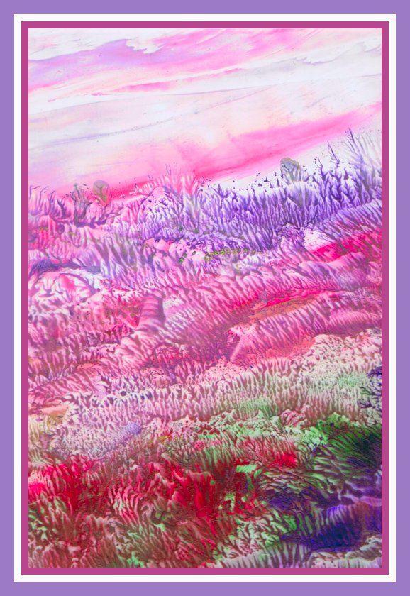 Heideveld geschilderd met bijenwas door Beika Kruid