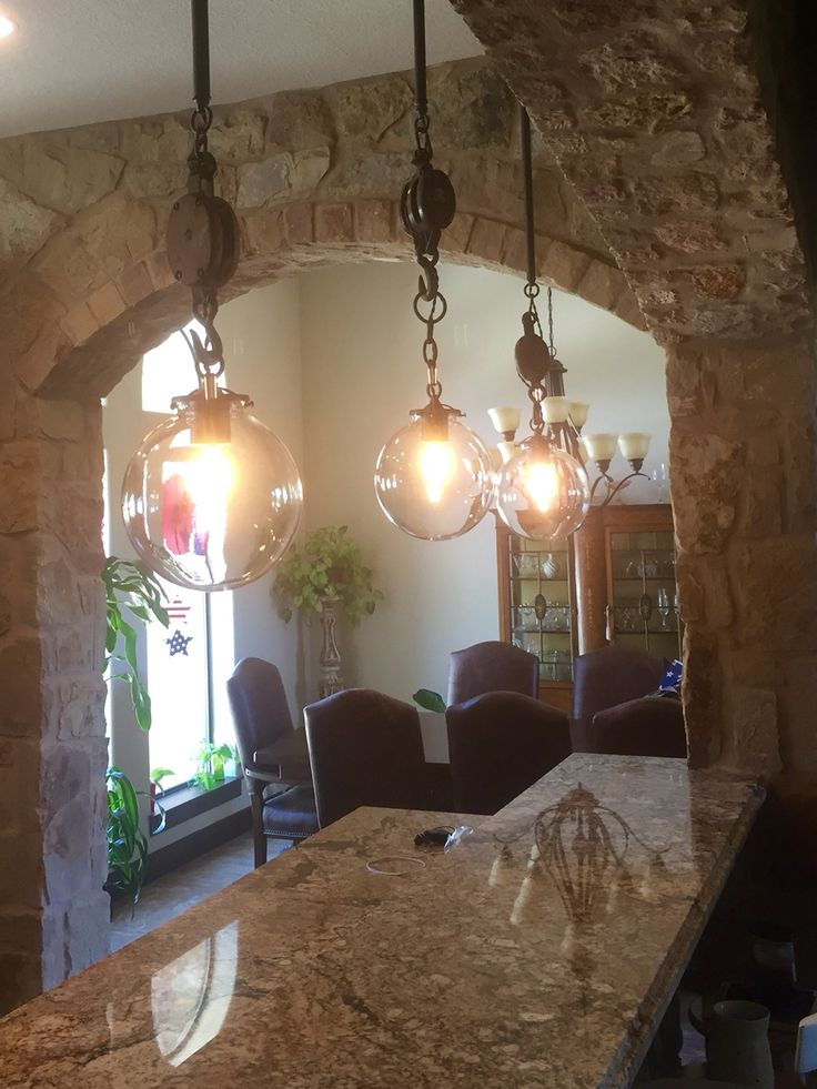 Custom lighting with block and tackle.                                                                                                                                                                                 More