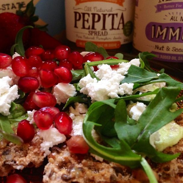 Late morning snack we are feeling a bit Christmasy about this one (-: so simple so yummy! Mixing it up Mayver's Pepita and Immune Spreads, smashed avocado, fresh rocket, feta and sprinkled with pomegranate seeds! #mayvers #sugarfree #purestate #pepita #health #cleaneating #brunch #happiness