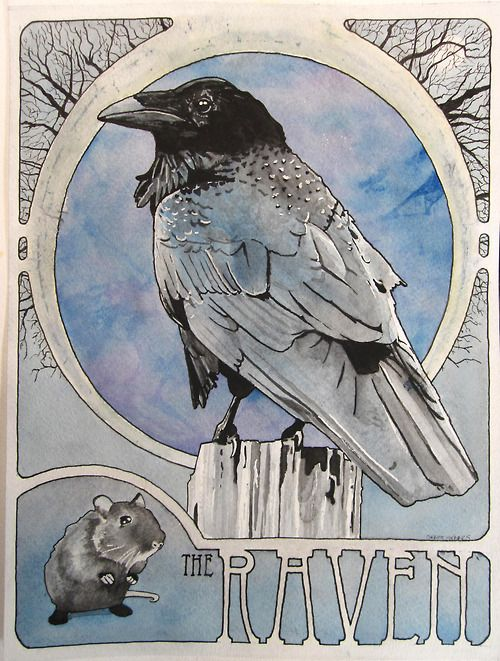 "corbettsparks: The Raven 2012 watercolor and ink 11"" x 14"" www.corbettsparks.com"