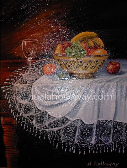 """Fruit Bowl on Lace Cloth"" by Nuala Holloway - Oil on Canvas #IrishArt #StillLife #OilPainting"