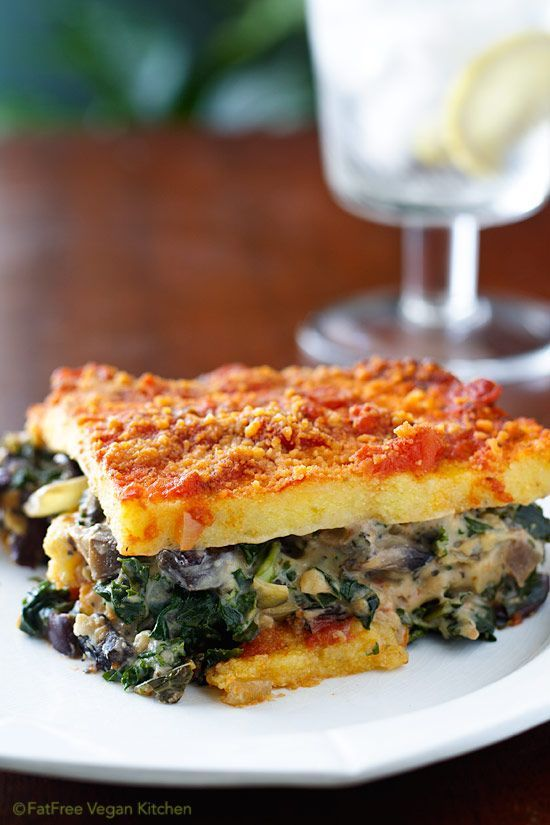 Polenta Lasagna with Portabellas and Kale #vegan