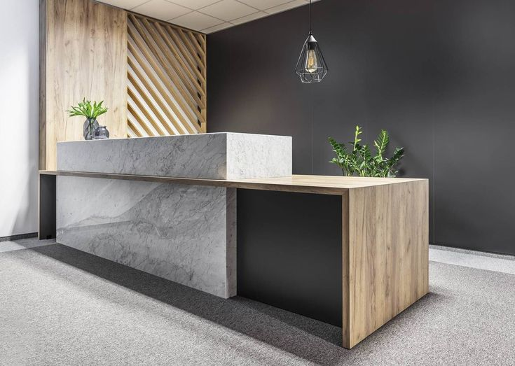 reception - office - reception desk - stone - timber - screen - inspiration #professionalofficedesigns