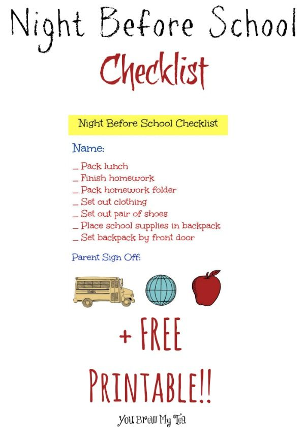 Night Before School Checklist is a great reminder for Family Command Center!  This list is great not just for first days of school, but for every day use!