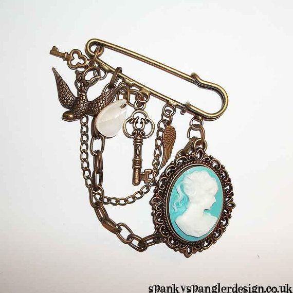 Steampunk kilt pin cameo brooch   OOAK by spankyspanglerdesign, £9.95