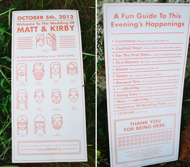 complete with cute illustrations designed by the groom!