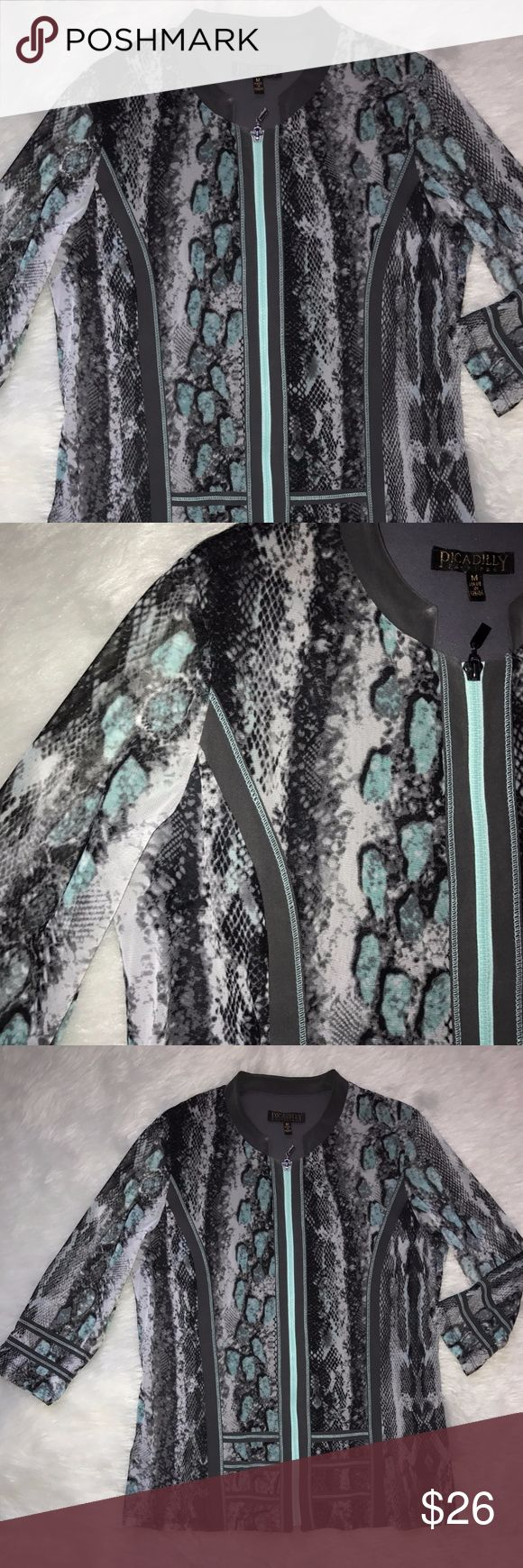 Picadilly Fashions Snake Skin zip up jacket Casual Women's size Medium Snake Skin Print  Lightweight Jacket  Full zip up Multi-color greens teal gray and silver Sheer material with gray underlinuinbg 3/4 sleeve Sporty and classy  Made in  Canada Picadilly Fashion Jackets & Coats