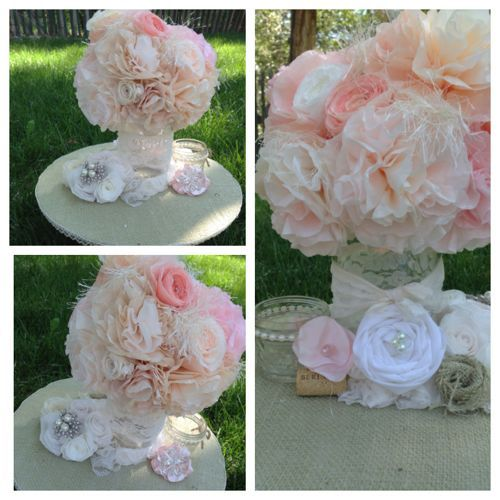 Burlap and lace wedding centerpieces made with coffee filter flowers.