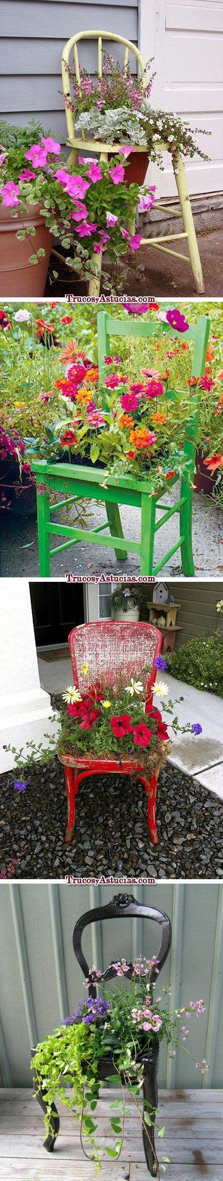 reciclar sillas: maceteros