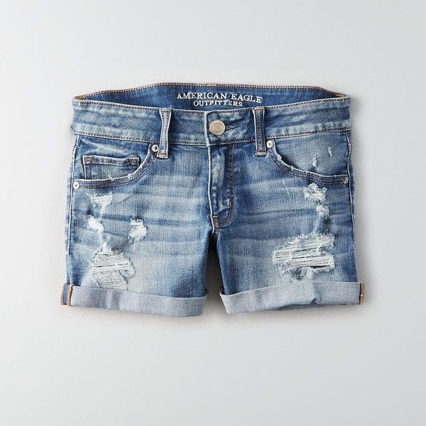 AE Denim X Café Midi Short ($37) ❤ liked on Polyvore featuring shorts, fitted shorts, blue short shorts, american eagle outfitters shorts, midi shorts and zipper shorts
