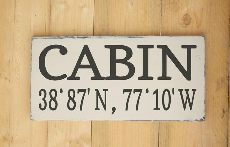 Cabin Cottage Sign Latitude Longitude Lake Home Decor Custom House Wooden Signs…