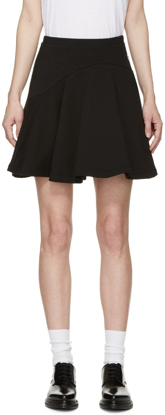 KENZO Black Brushed Cotton Miniskirt. #kenzo #cloth #miniskirt