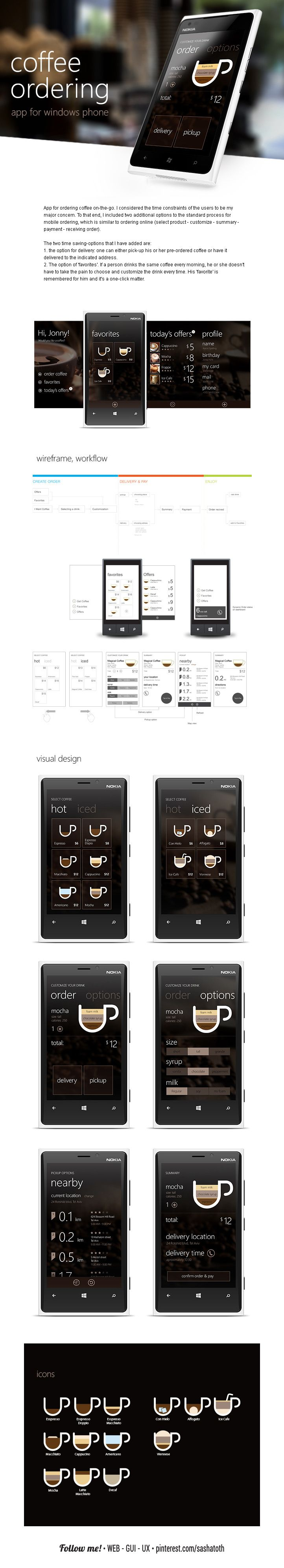 Windows app for ordering coffee on-the-go. by Michael Novoselov, via Behance *** #app #gui #ui #wp #windowsphone #behance