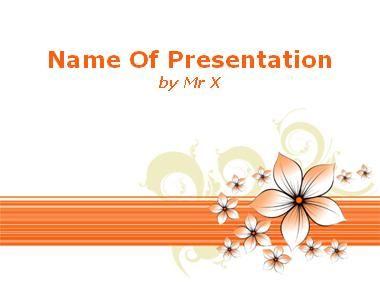 Orange Floral Background Powerpoint Presentation Template