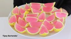 Pink Lemonade Jello Shots - For more delicious recipes and drinks, visit us here: www.tipsybartender.com
