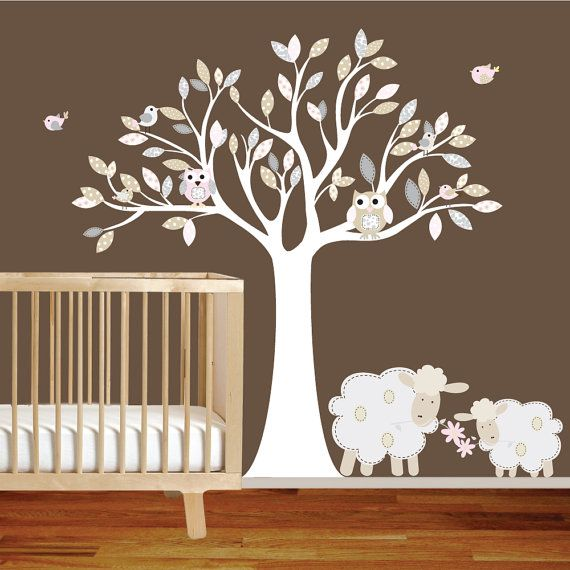 Vinyl Wall Decal Nursery Tree With Lambs Owls Birds Pattern Leaves