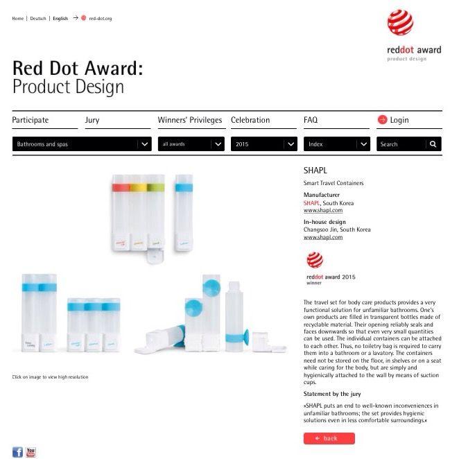 SHAPL's 2015 Red Dot Design Award: Product Design  http://red-dot.de/pd/online-exhibition/work/?lang=en&code=05-04411-2015&y=2015&c=176&a=0