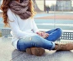 Big scarf, blue jeans and brown shoes for ladies | Fashion and styles
