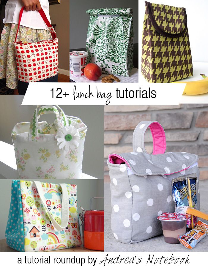 12+ Lunch Bag tutorials! hmmm...with boys fabrics maybe something to look into for Gavin in Kindergarten