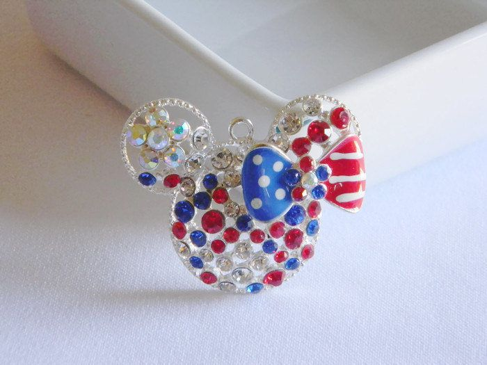 Red White & Blue Minnie Mouse Rhinestone Pendant Bubble Necklace Key Chain Zipper Pull Jewelry Holiday Ornament 4th of July Patriotic Flag by HouseofHairDecor on Etsy