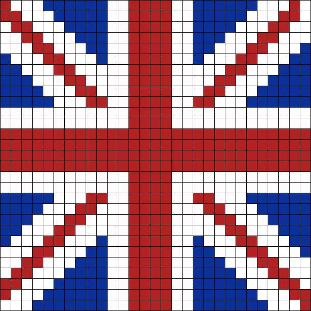 UK Flag bead pattern
