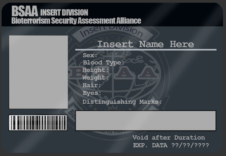 Bsaa Id Card Template By Mangapip On Deviantart  Cosplay Id Card