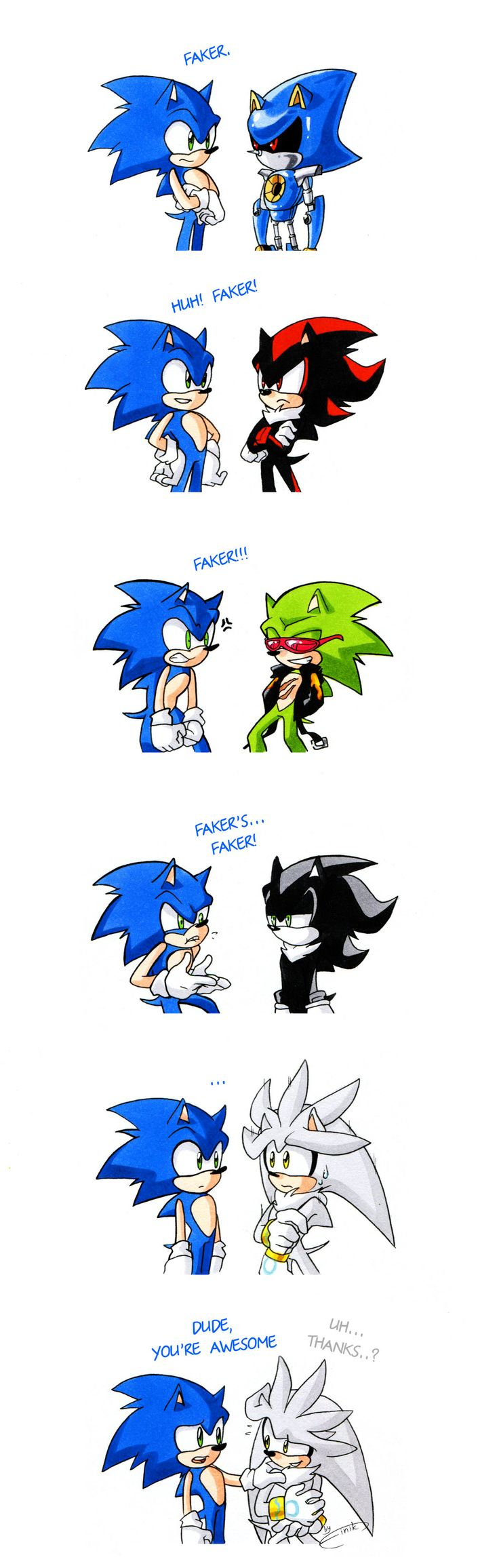 Each time Sonic meets another hedgehog. by FinikArt <<< Repin just for that Silver bit because it's adorable and Silver is my fave.