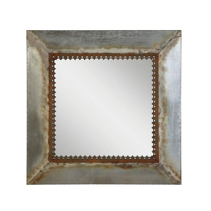 It's the frame surrounding this mirror that really sets it apart from the rest. The squared metal is mottled with a rusted patina for incredible rustic/industrial charm, then finished with a brown, lac...  Find the Russell Mirror, as seen in the Lovely French Farmhouse Collection at http://dotandbo.com/collections/lovely-french-farmhouse?utm_source=pinterest&utm_medium=organic&db_sku=CCO0368