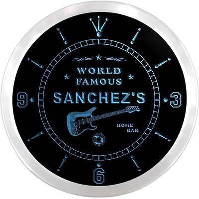 Ncx1052-tm sanchez's home bar guitar #lounge #custom name neon sign #clock,  View more on the LINK: http://www.zeppy.io/product/gb/2/201516060257/
