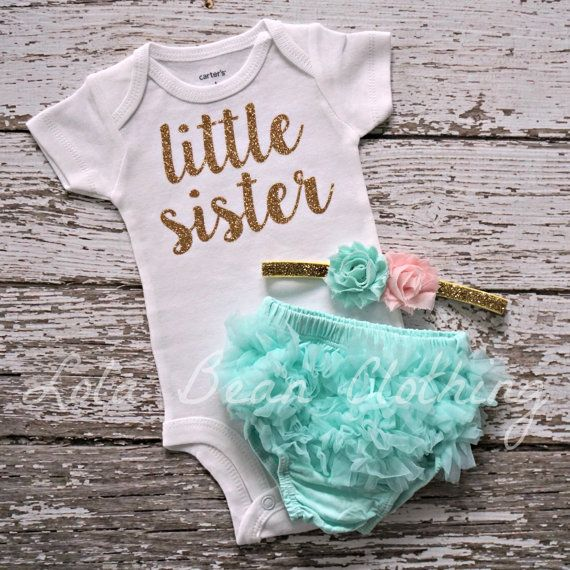 NEW Baby Girl Take Home Outfit Newborn Baby Girl Little Sister Bodysuit Mint Bloomers Gold Pink Headband Set Lola Bean Clothing