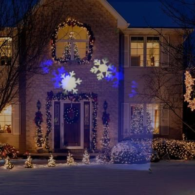 xmas light projector lightshow blue and white snowflake projection spotlight 10841