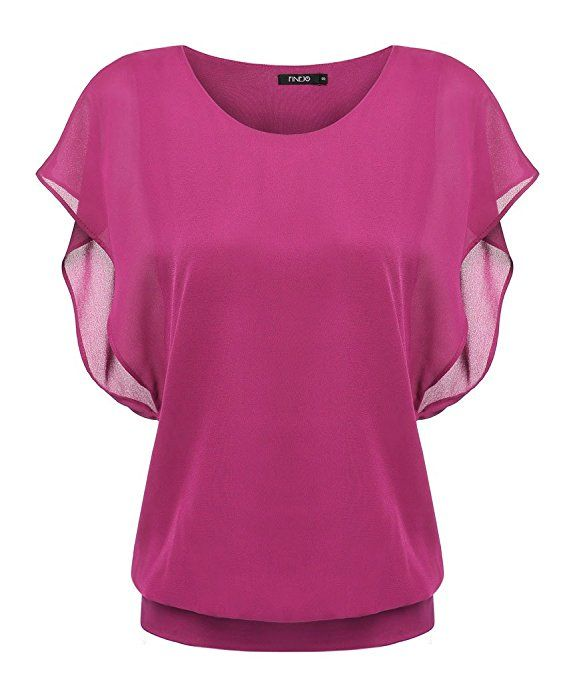 Bluetime Women's Batwing Short Sleeve Casual Chiffon Blouses Top (XL, Rose Red)