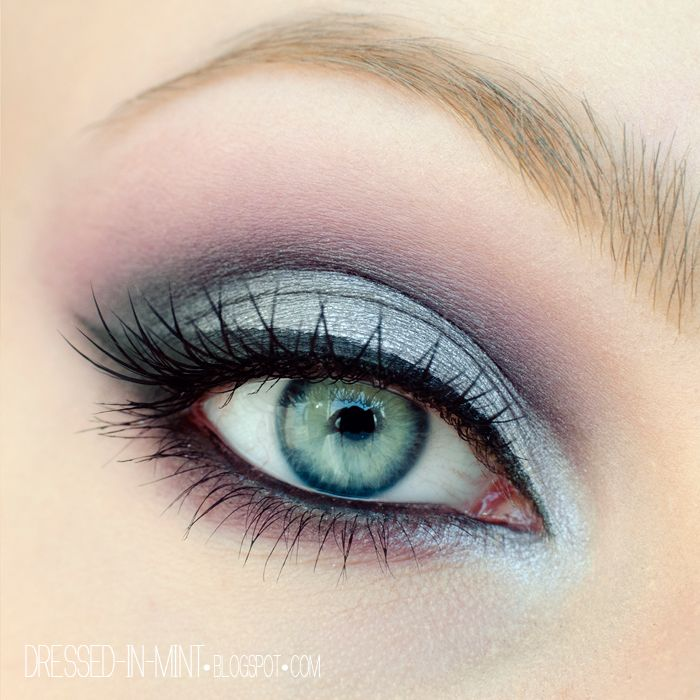 Purple and Silver Eye Makeup Look for Blue Eyes