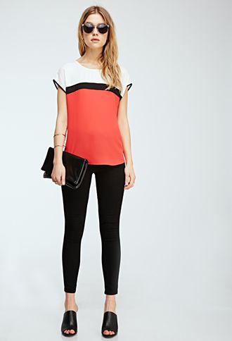 Colorblocked Chiffon Top | FOREVER21 - shirt, leggings,