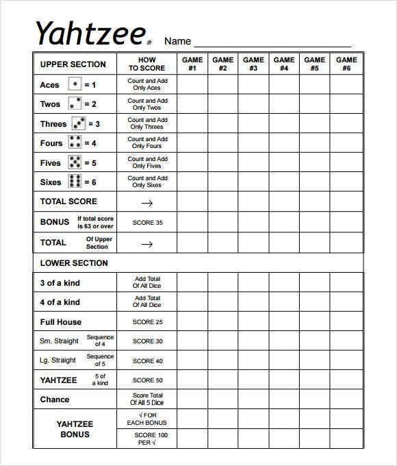 It is a picture of Impertinent Free Printable Yahtzee Score Sheets
