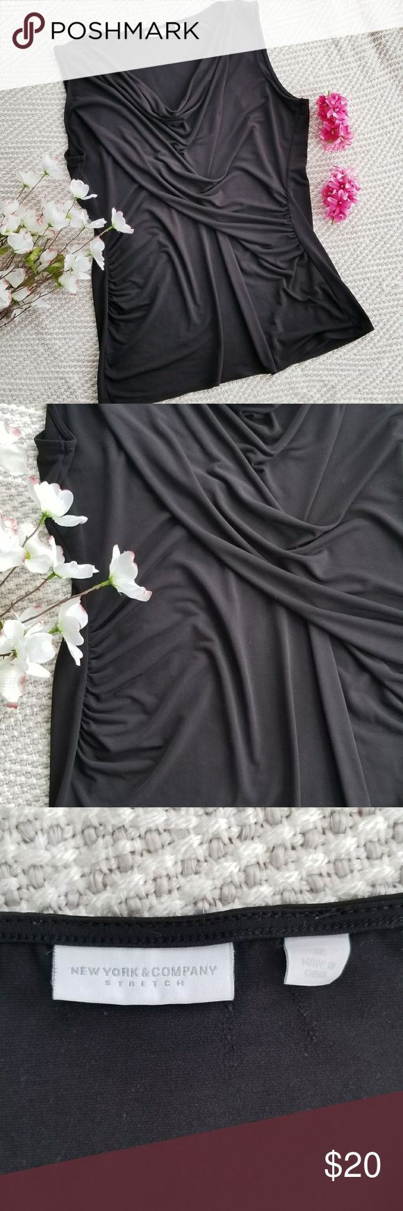 ny u0026c sleeveless cowl neck blouse  100 polyester  black color  size xl  excellent condition new